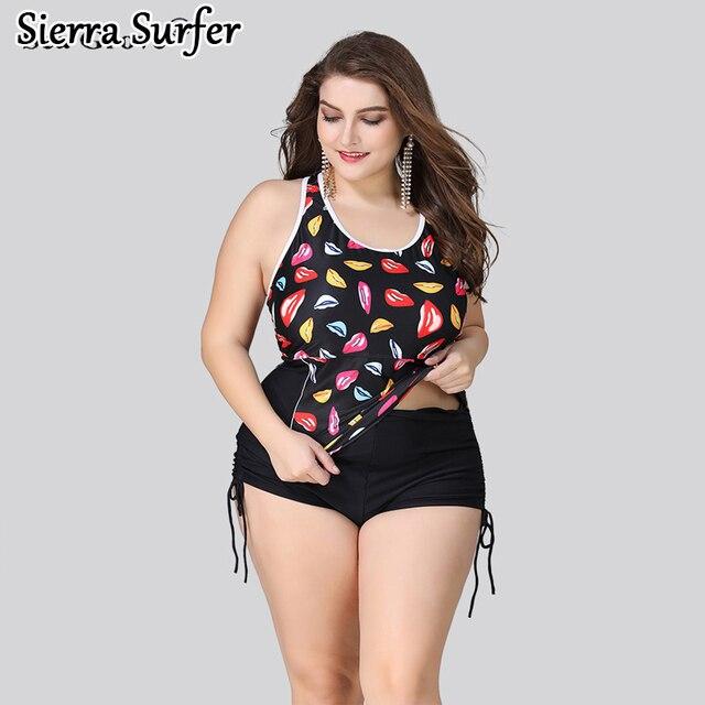 846887c710 Plus Size Swimwear Large Size Big Swimsuit Woman Bathing Suits Fat Women  Vintage High Waisted Swimwear 2018 New Lady Stamp Large