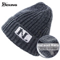 [Dexing]Real wool Men's Skullies Winter  ski Wool Knitted Hat Male Brand Beanies Cap Casual wooly  Hats For Men bonnet  dad hat