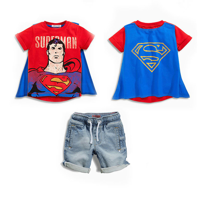 Retail New 2017 Superman Children Clothing Sets cool Summer boys Costume Kids clothes T-shirt+jeans 2 pcs set Baby cosplay wear retail 2017 kids summer new basketball suit sportswear set boys clothes boys clothing sets children vest shorts sets 1 6 year 4