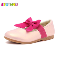 Girls White School Shoes Spring Autumn Leather Shoes For Children Princess High Heels Casual Students Kids