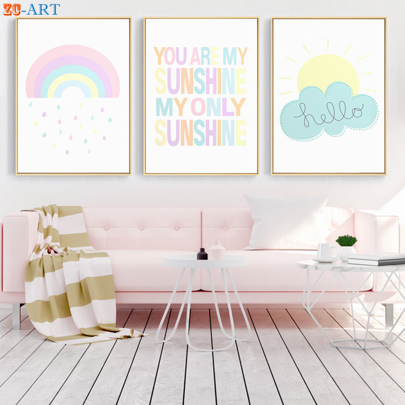 Us 2 88 40 Off Rainbow Cloud Sunshine Print Cute Canvas Painting Pastel Color Nursery Wall Art Children Bedroom Decorative Pictures Decor In