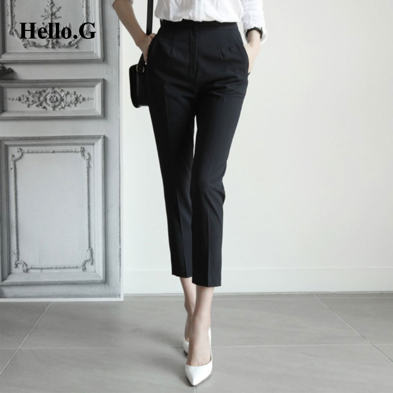 Size Formal Pencil Pants Women Slim Pockets Zipper Black Office Wear High Waist Summer Pant Female Trouser For 2016 In Capris From S