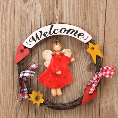 Home wall angel girl ornaments pendant wood Welcome to the listing sign hanging|hanging wood signs|home wooden sign|wooden welcome - title=