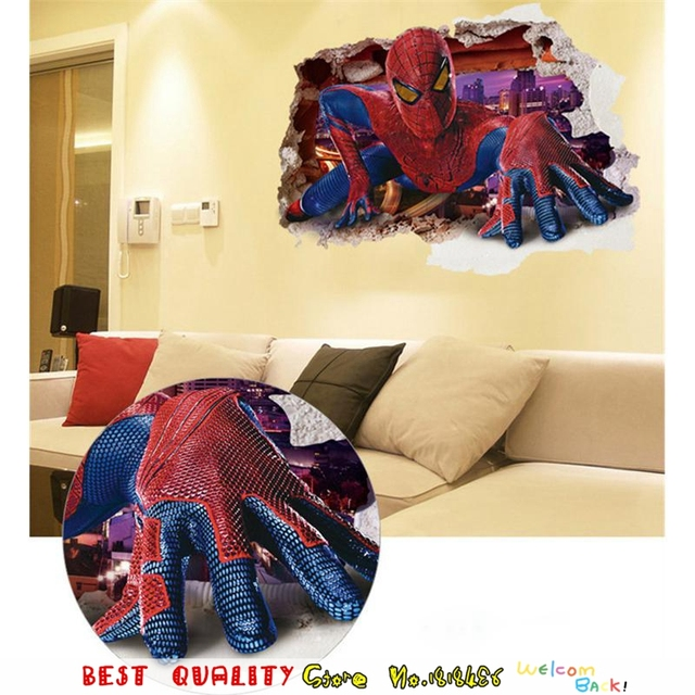 3D Inpired Spiderman Wall Stickers Kids Room Decorations Marvel Film ...