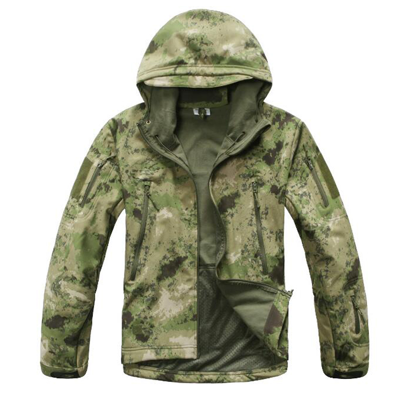 Image 2 - Tactical Jacket Men Military Camouflage Shark Skin Soft Shell Waterproof Hooded Jackets Outdoor Camo Fleece Warm Raincoat Coats-in Jackets from Men's Clothing