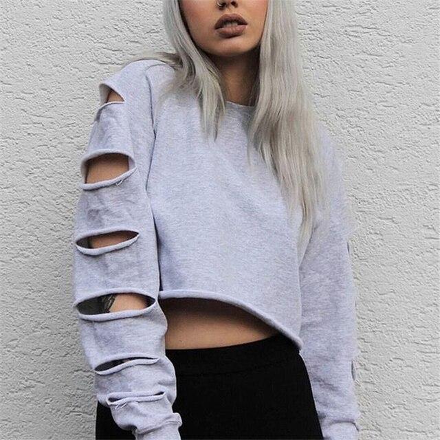 Us 1527 Frauen Streetwear Hoodies Loch Casual Oansatz Lang Hülse Pullover Lose Oberbekleidung Für Coole Mädchen Frauen Loch Sweatshirts Dp818373