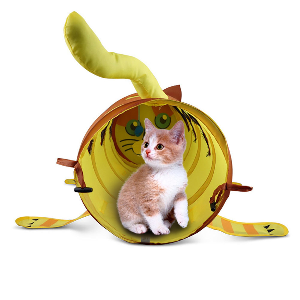 New Folding Cute Cat Shaped Tunnel Pet Tent Toy Cat Hides Nest Funny Pet Tunnel Playable Brown Pet Toys Game Rabbit Tunnel ...