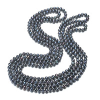 SNH Pearl Necklace 8mm Black Potato 100inches Natural Freshwater Pearl Choker Necklace High Quality Women Fine
