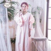 Vintage Gown Women Dress Cotton Sleepwear Nightgown Casual Night wear European Retro Style For Ladies 6001