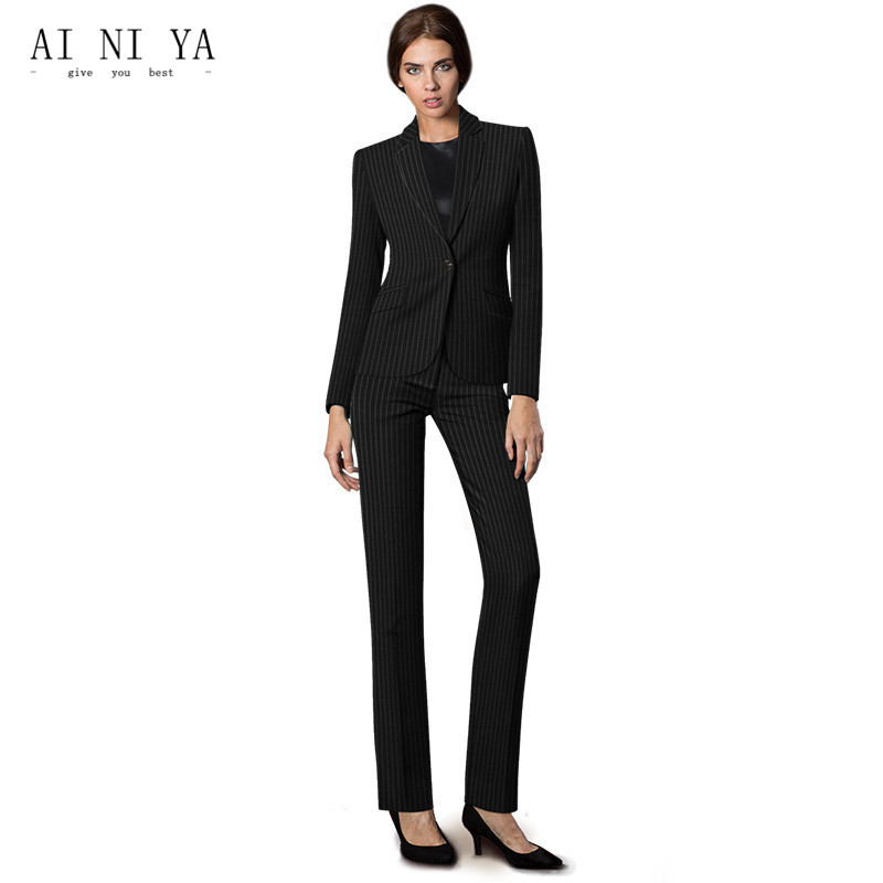 Black White Striped Pattern Elegant Pant Suits For Women Business Formal Female Office Unifrom Autumn Winter Slim 2 Piece Suits