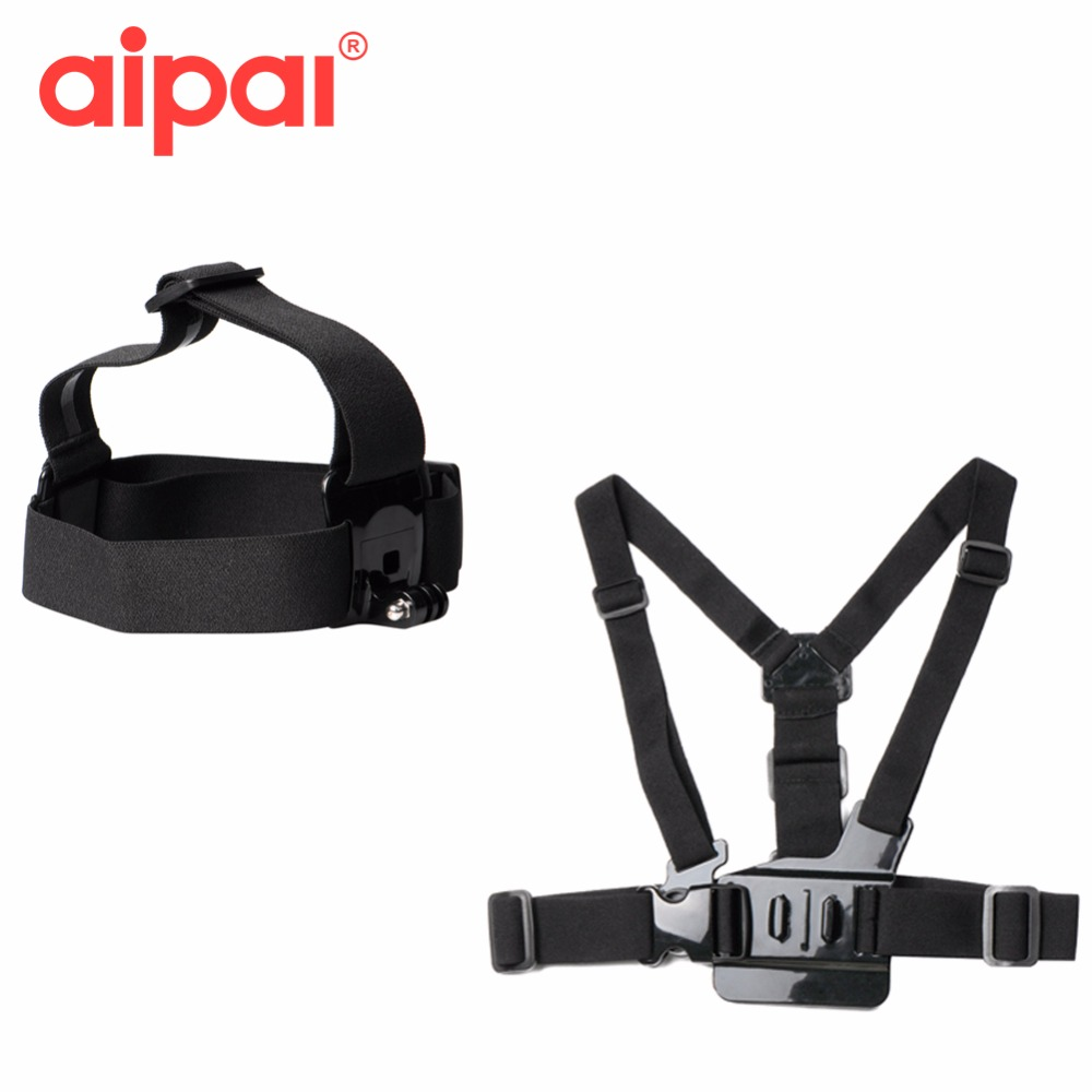 Aipal Action Camera Accessories Adjustable Head Strap Mount Belt and Chest Belt Mount Kit Accessories For Gopro Hero 5 4 Xiao yi