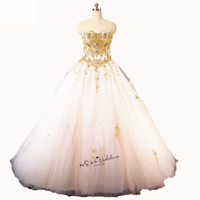 Sweet 16 Ball Gowns Cheap Quinceanera Dresses 2018 White Gold Lace Puffy Prom  Dress Ballkleid Vestidos de 15 anos Masquerade 51be8da0ef87