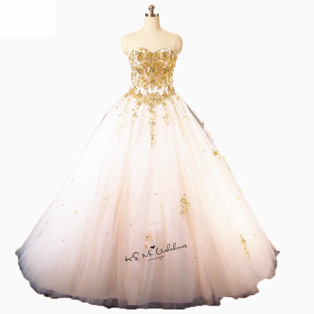 sweet 16 dresses gold and white