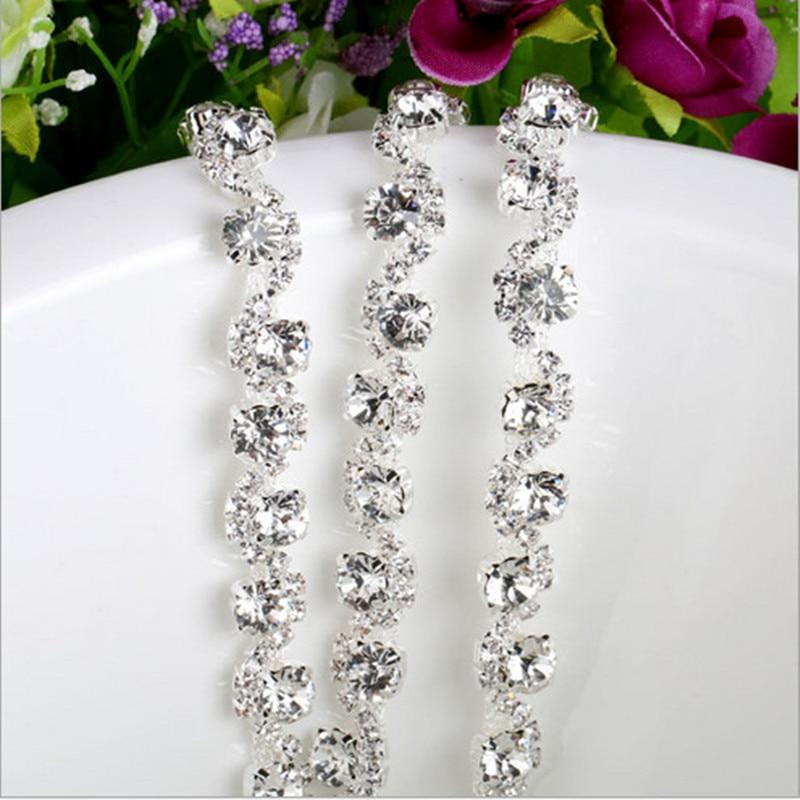 1 Yard 91 * 1 CM Zilver Plaksteen Glas Legering Steentjes Applique - Kunsten, ambachten en naaien