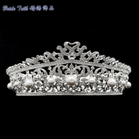 Austrian Crystals Rhinestone Pearl Wedding Bridal Tiara Crown Hair Accessories Jewelry Headband SHA8735