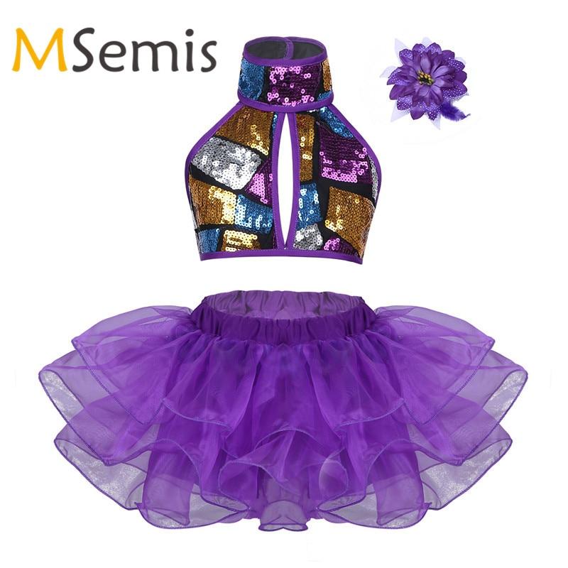 Kid Girls Ballet Dress Jazz Dance Costume Kids Halter Shiny Sequins Crop Top With Tutu Dress Hair Clip Set For Stage Performance