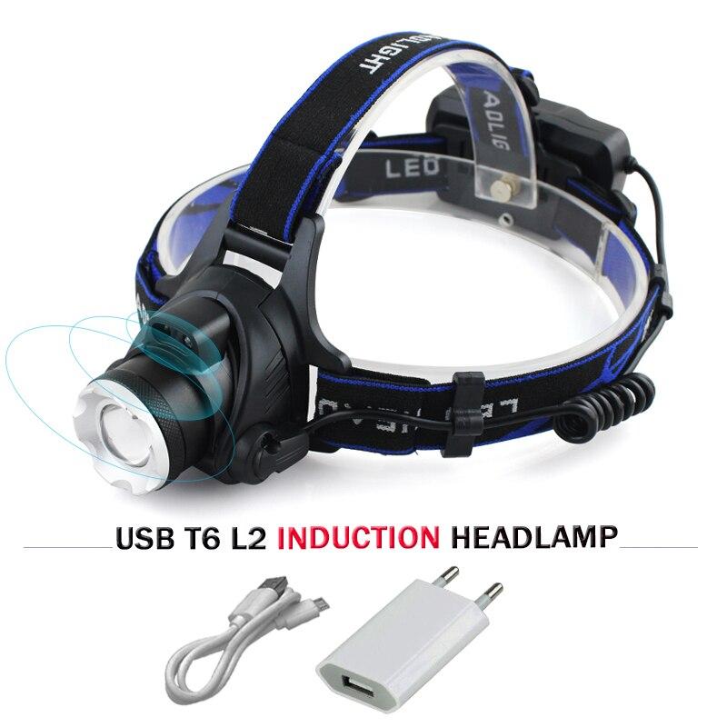 Usb sensor led-scheinwerfer cree scheinwerfer xm l t6 xm-l2 wasserdicht zoom stirnlampe 18650 akku taschenlampe stirnlampe