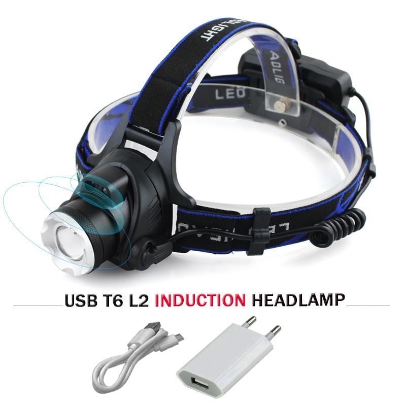 Usb sensore led del faro faro cree xm l t6 xm-l2 impermeabile zoom testa della lampada 18650 batteria ricaricabile torcia lampada da testa