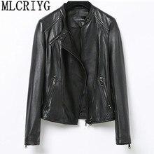 YQ246 ファッション本革ジャケット春のクラシックショートオートバイのジャケット黒パンクスタイル女性のコート