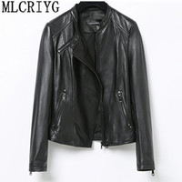 Fashion Genuine Leather Jacket Spring Classic Short Motorcycle Jackets Black Punk Style Ladies Sheepskin Coats for Women YQ246