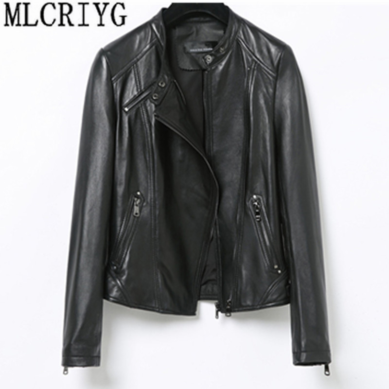Moda chaqueta de cuero genuino primavera clásico corto motocicleta chaquetas negro Punk estilo damas abrigos de piel de oveja para las mujeres YQ246