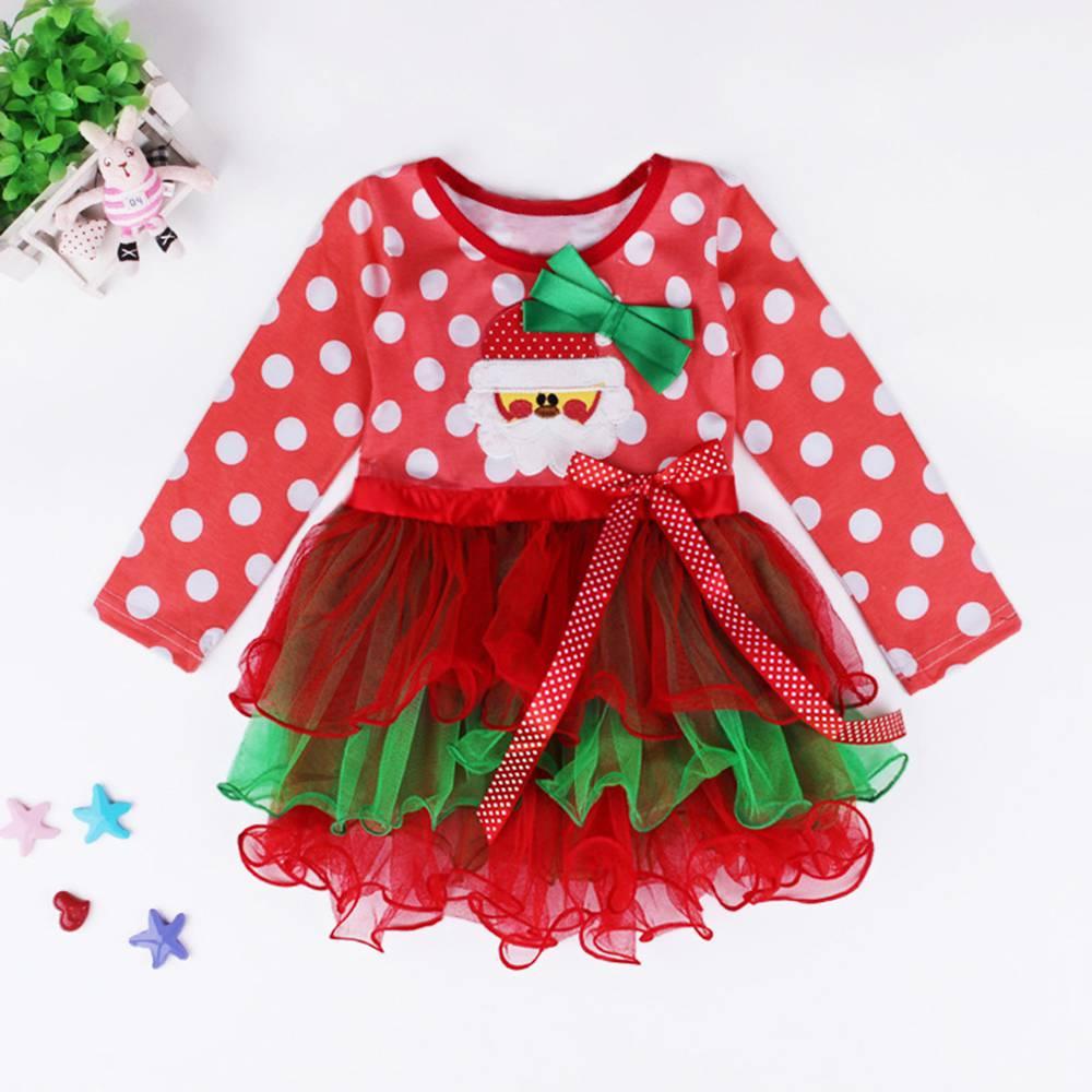 ФОТО 2016 christmas gift for kids patchwork christmas dress regalo de navidad long sleeve christmas dresses for toddler girls
