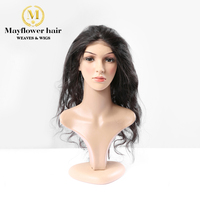 MFH 360 Bang Frontal Lace size 22x 4 Malaysian body wavy virgin hair bleached knot with baby hair Natural color 120% density