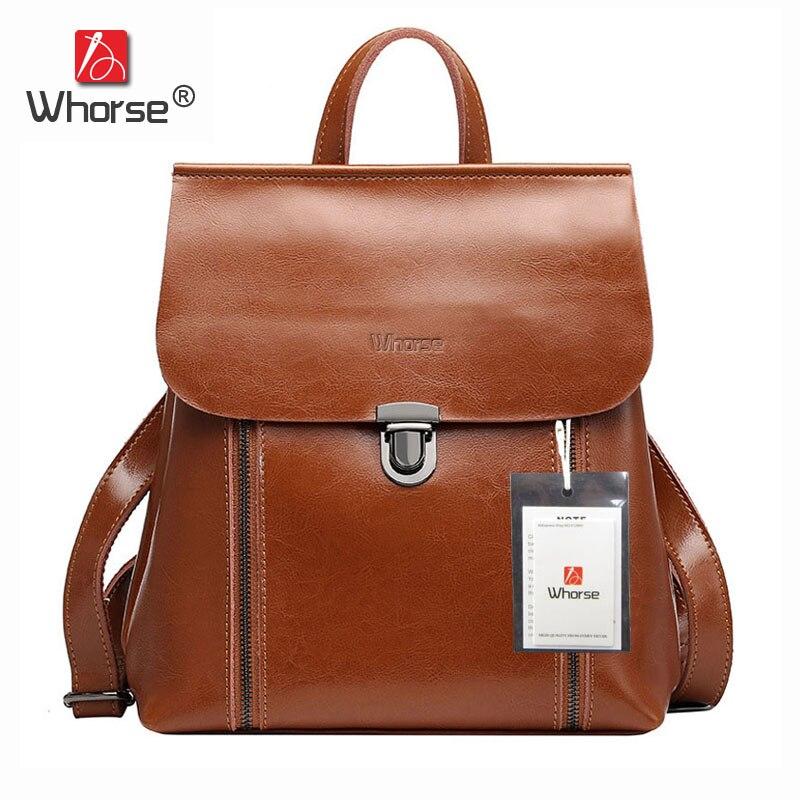 цена на Brand Double Zipper Design Genuine Leather Womens Backpack School Bags Ladies Casual Backpacks High Quality Back Pack W07900