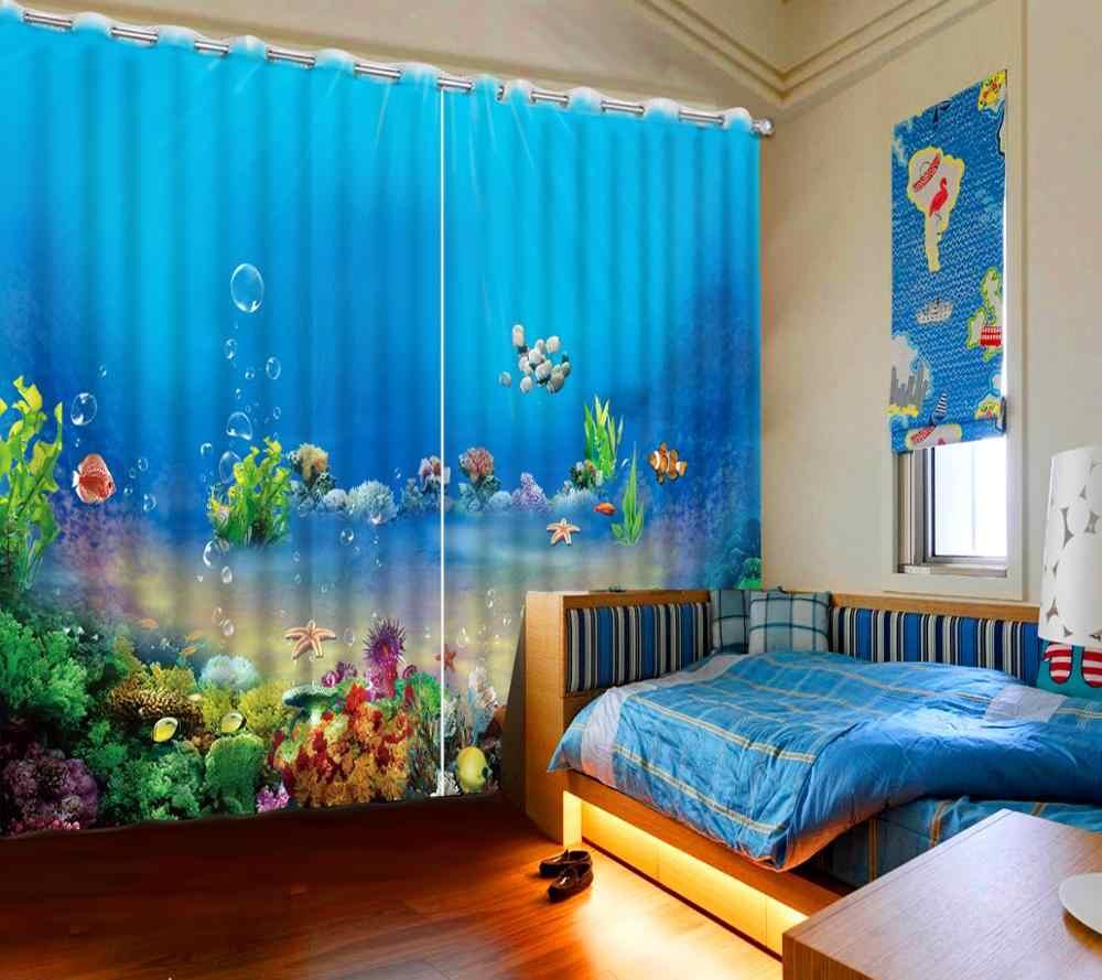 customize kids room curtains girls Underwater World photo curtains 3d luxury home