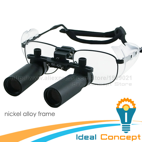 6.0x Magnification Dental Loupes Nickel Alloy Frame Keplerian Surgical Medical 45mm Field of View+ 25mm Depth of Field Loupe