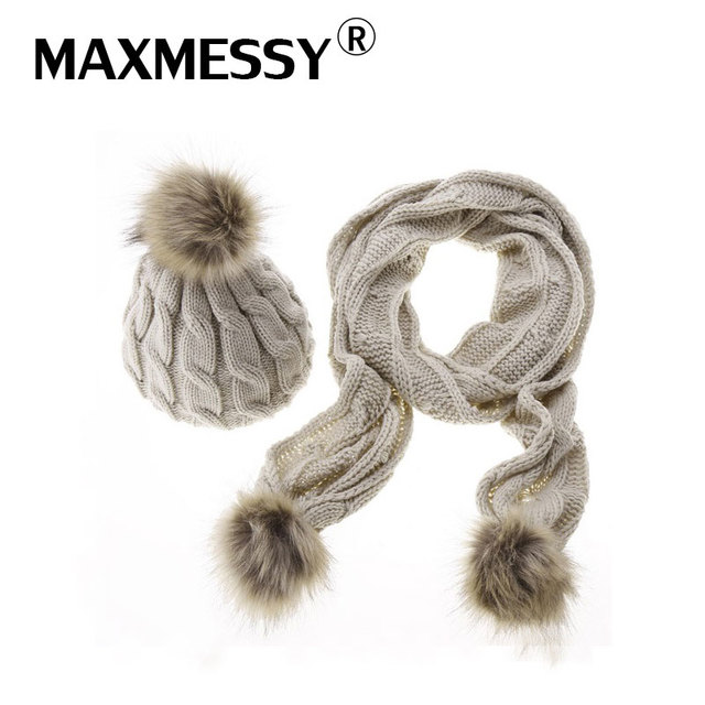 690d0670349 MAXMESSY Knitted Winter Hats for Women Pom Pom Hat Scarf Set Two Piece Sets  Fashion Cap Gorros Bonnet Acrylic Beanies MH121