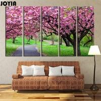 5 Panel Duvar Sanatı Kiraz Çiçekleri Tuval Baskı Kiraz Ağaçları Yağlıboya Tuval Modern Resim Sergisi Resimler Dekor Üzerinde Hiçbir Çerçeveleri