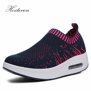 Hosteven Women Shoes Sneaker Casual Vulcanize Air Mesh Shoes Ladies Platform Female Black Shoes Solid Footwear Plus 35-40