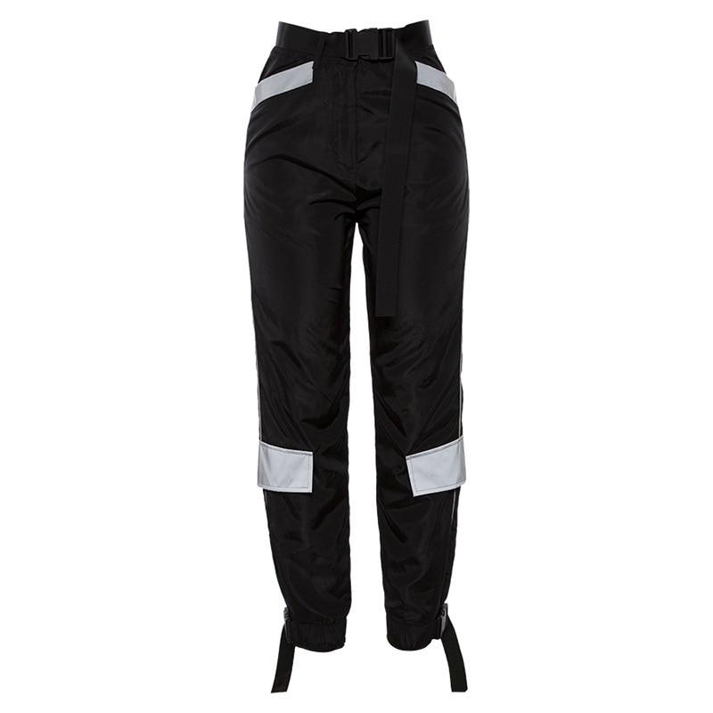 2019 Streetwear Cargo   Pants   Women Casual Joggers Black High Waist Loose Female Trousers Korean Style Ladies   Pants     Capri   XM510