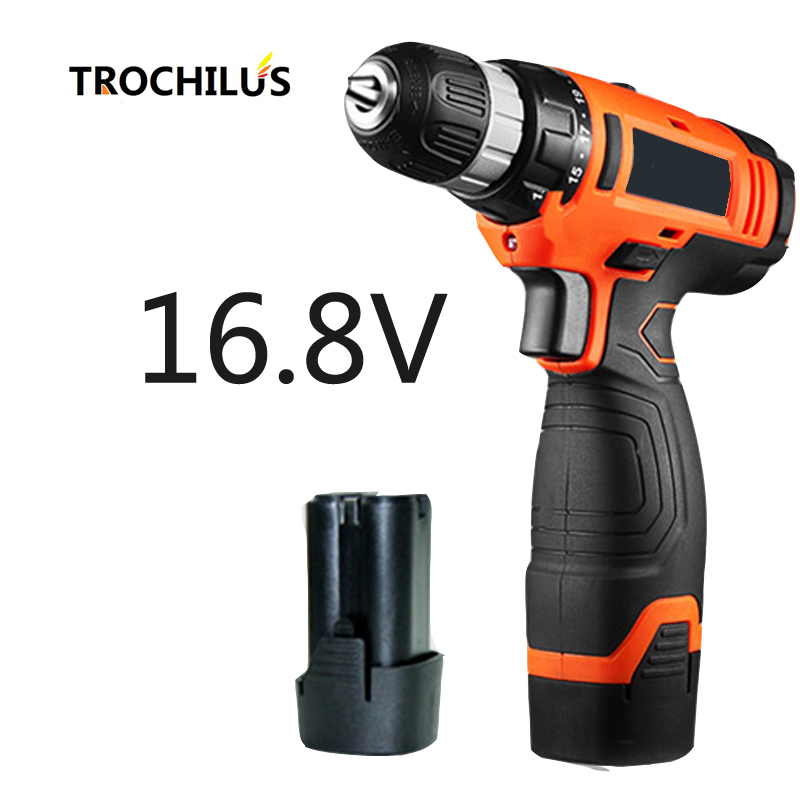 16.8V Cordless  Screwdriver Multifunction Power Tools  Miniature Drill Mini Electric Screwdriver with Lithium Battery * 2 electric drill mini miniature ball bearing precision grinding aluminum shell multifunction hand drill