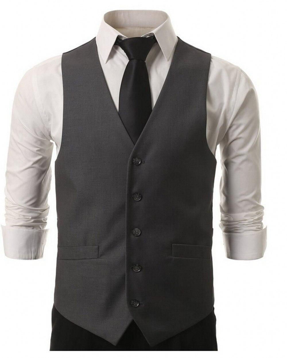 2017 New high quality men suit Black Grey vest men waistcoat dress vests for men New men's solid color Slim Menvest