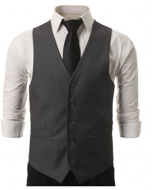 2017 New high quality men suit Black Grey vest men waistcoat dress vests for men New men's solid color Slim Menvest