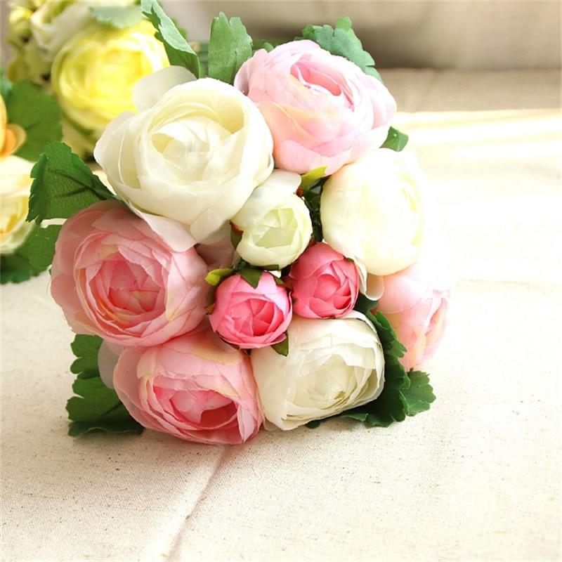 10 koka me trëndafila artificiale Buqeta e dasmave Lule dekorative e - Furnizimet e partisë - Foto 4