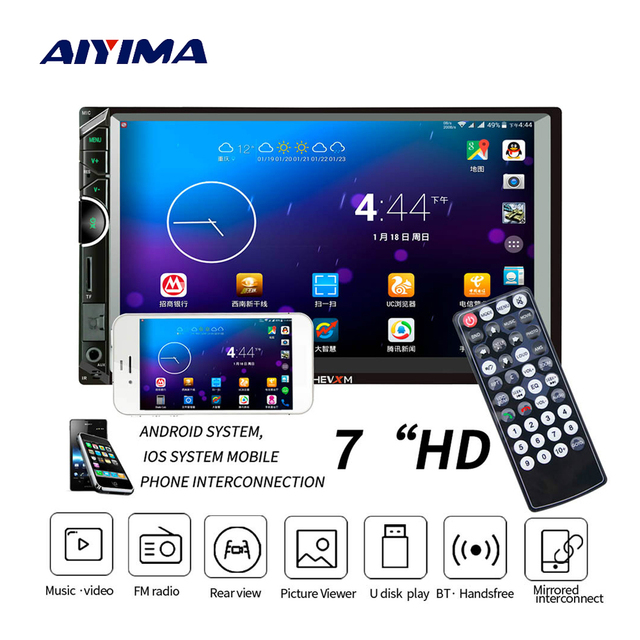 """AIYIMA 7"""" HD 2 Din Touch Screen Digital Display Bluetooth Multimedia Video MP5 Player AUX MP4 Music Player With Camera For Auto"""
