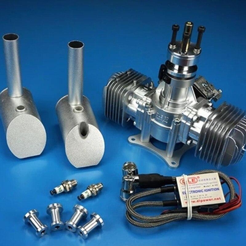 DLE 60 RC modèle moteur à essence DLE60 bicylindre deux temps échappement latéral naturel refroidi par le vent démarrage à la main 60CC déplacement