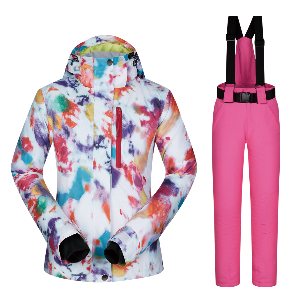 Ski Suit Women Brands Outdoor Thermal Waterproof Windproof Breathable Snow Jackets and pants Set Winter Skiing Snowboard Suits top quality womens skiing suit sets windproof waterproof thermal snowboard jackets and pants girl winter cotton snow dress