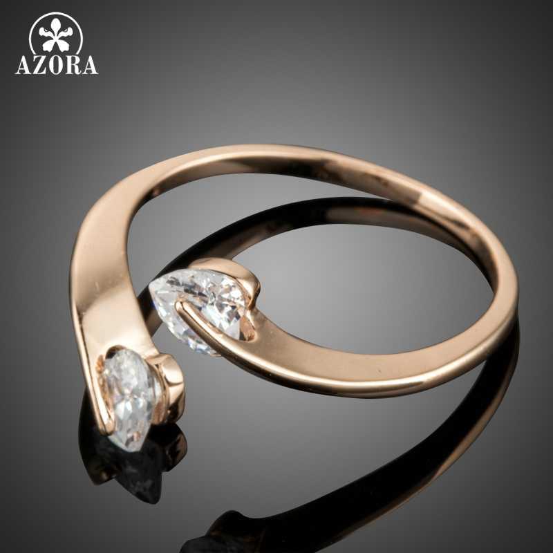 AZORA แฟชั่นผู้หญิงปรับขนาดแหวน 2 หัวใจใสคริสตัล Zircon หญิงเครื่องประดับ TR0195