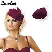 Burgundy Women Fascinator Hat Wool Pillbox Hat Formal Dress Flower Veil Hat for Cocktail Party Cheltenham Ladies Vintage Gatsby