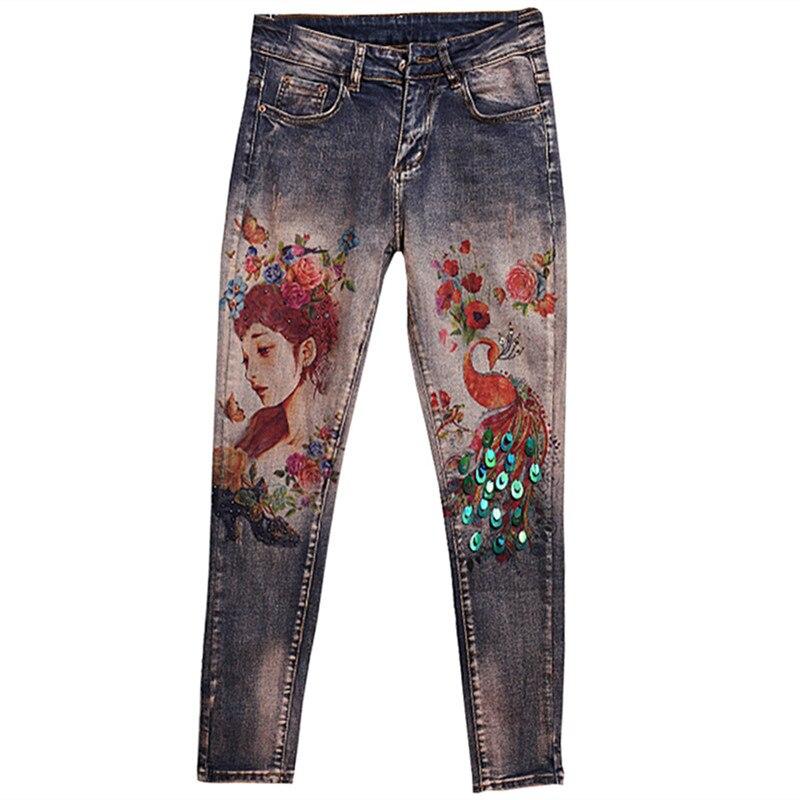 Denim Pants 3D Printed Stretchy Jeans Lighting Women Peacock Flower Printing Pattern Large Size 32 Skinny