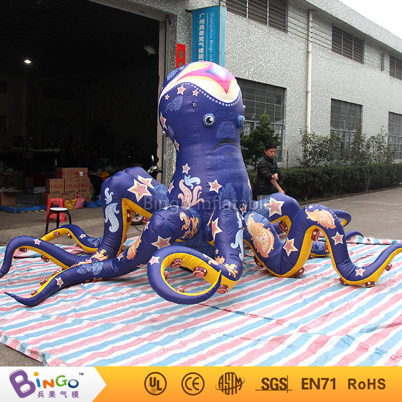 Inflatable model toy 5m ocean sea series inflatable blue flower octopuses with full print for party baricco a ocean sea