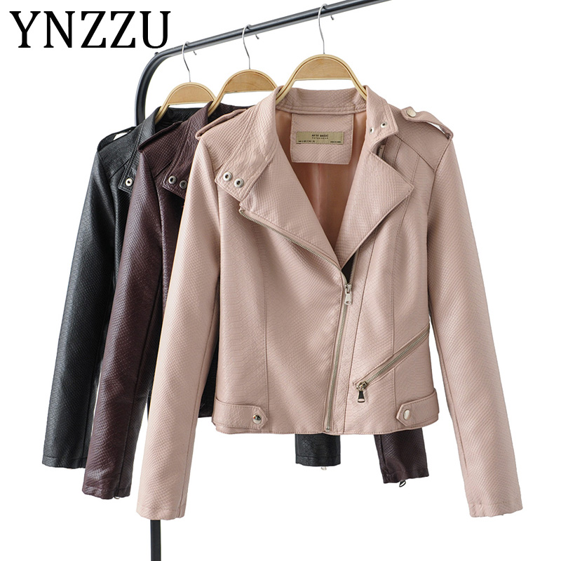 YNZZU 2019 New Fashion Women Motorcycle Faux   Leather   Jackets Ladies Long Sleeve Autumn Winter PU Biker Streetwear Coat A1015