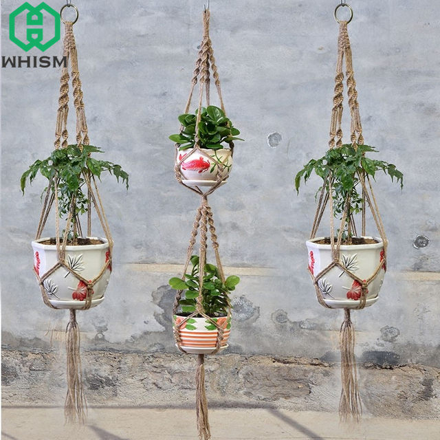 Whism Vintage Macrame Plants Hanger Basket Hook Hanging Flower