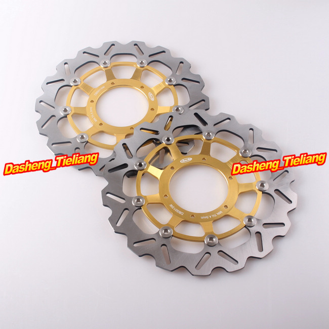 2PCS Brand Front Brake Disc Rotors For Honda 2003-2012 CBR600RR & 2004 2005 CBR1000RR, Motorcycle Parts Accessories arashi motorcycle parts radiator grille protective cover grill guard protector for 2003 2004 2005 2006 honda cbr600rr cbr 600 rr