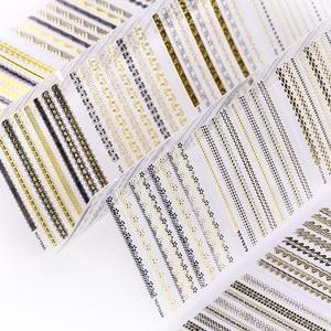 Image 5 - 24 pçs prego adesivos 3d arte do prego adesivo decalque manicure ouro/prata listra amor coração brilho decorações para unhas acessórios