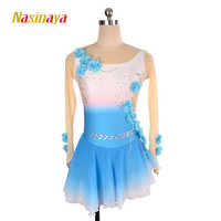 Nasinaya Figure Skating Dress Customized Competition Ice Skating Skirt for Girl Women Kids Gradient Color Performance Flower